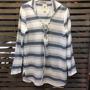 Billabong Striped Hooded Lace-Up Tunic Top Shirt